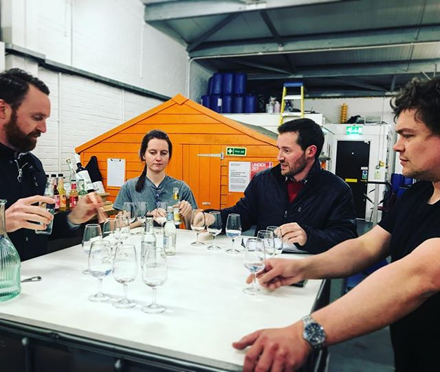 Staff night out has started with the very serious job of testing @lindandlimegin with a range of different tonics and mixers. Serious work, serious people, serious times. All very serious.  #distillery #leith #scottishgin #gin #ginandtonic #edinburgh #lindandlime #leithdistillery