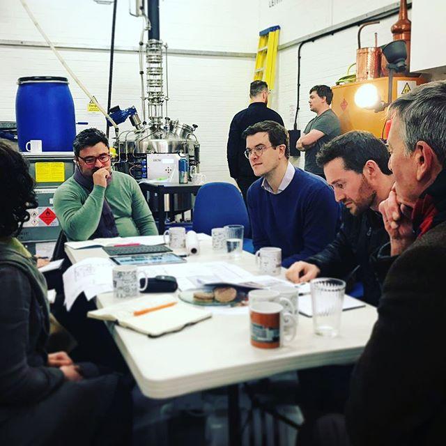 Intensive design debate in the foreground, intensive distilling debate in the background.  #distillation #scotch #scotchwhisky #leith #edinburgh #distillery #design