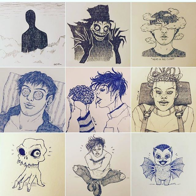 It's my sister @kajuji_'s birthday today. Here is a selection of her artwork, which will fuel your nightmares.