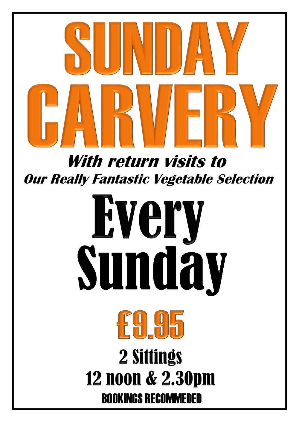 LastOrders! - Our last Sunday Carvery will be Sunday 21st April