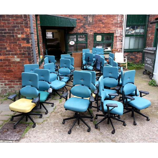 36 'Steelcase' (£800 when new) 2nd hand chairs off the be individually Reupholstered
