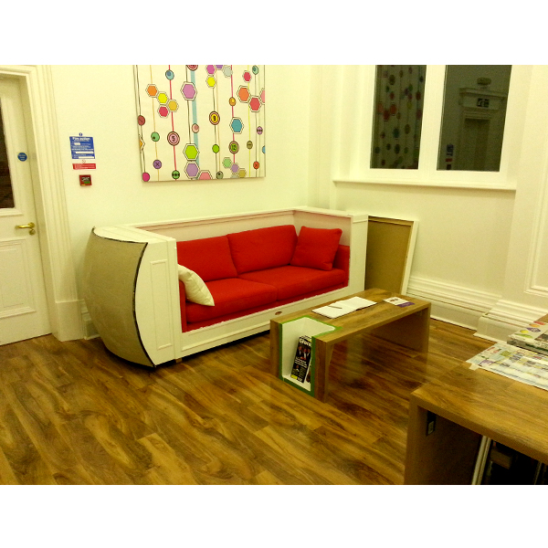 Telephone Box Sofa with Dome and Coffee Table Surfaced