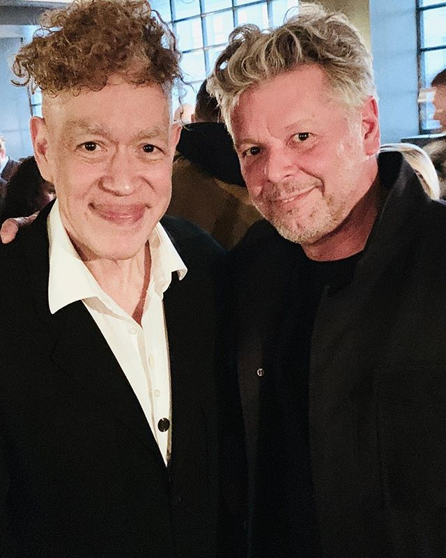 At the opening of Andres Serrano's multi-media installation show of collected Trump paraphernalia. In 1987 Andres created quite a stir by producing Piss Christ a small crucifix he photographed submerged in a jar of his own urine. We were both teaching photo workshops in Maine around that time and I remember the commotion the image created back then. Andres' work has continued on a fantastic and controversial path ever since. Even now as he simply  asks the audience: who is Trump? Showing in the Meatpacking District, around the corner from my first studio in NYC. #andresserrano #multimedia #installation #trump #trumpmask #hansneleman #photographer #artwork #instaartoftheday #trumpcombover #artexhibition #visualart #artphotographer #nyc #meatpackingdistrict #nycartist