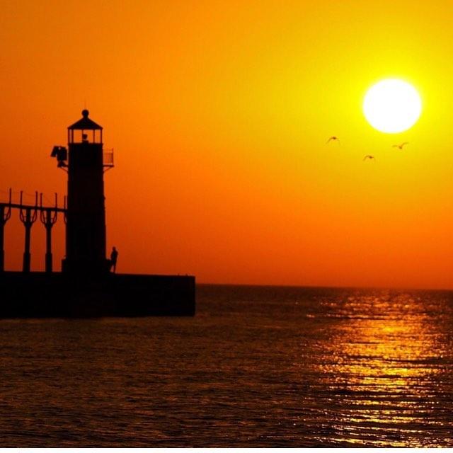 """""""Sunset at Benton Harbor Michigan."""" #yonderoftheday from Luis Garcia. #YonderOn #sunset #LakeMichigan"""