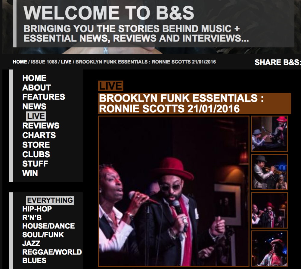 Review of BFE show at Ronnie Scott's in London (UK) from January, 2016. Click image for link to article.