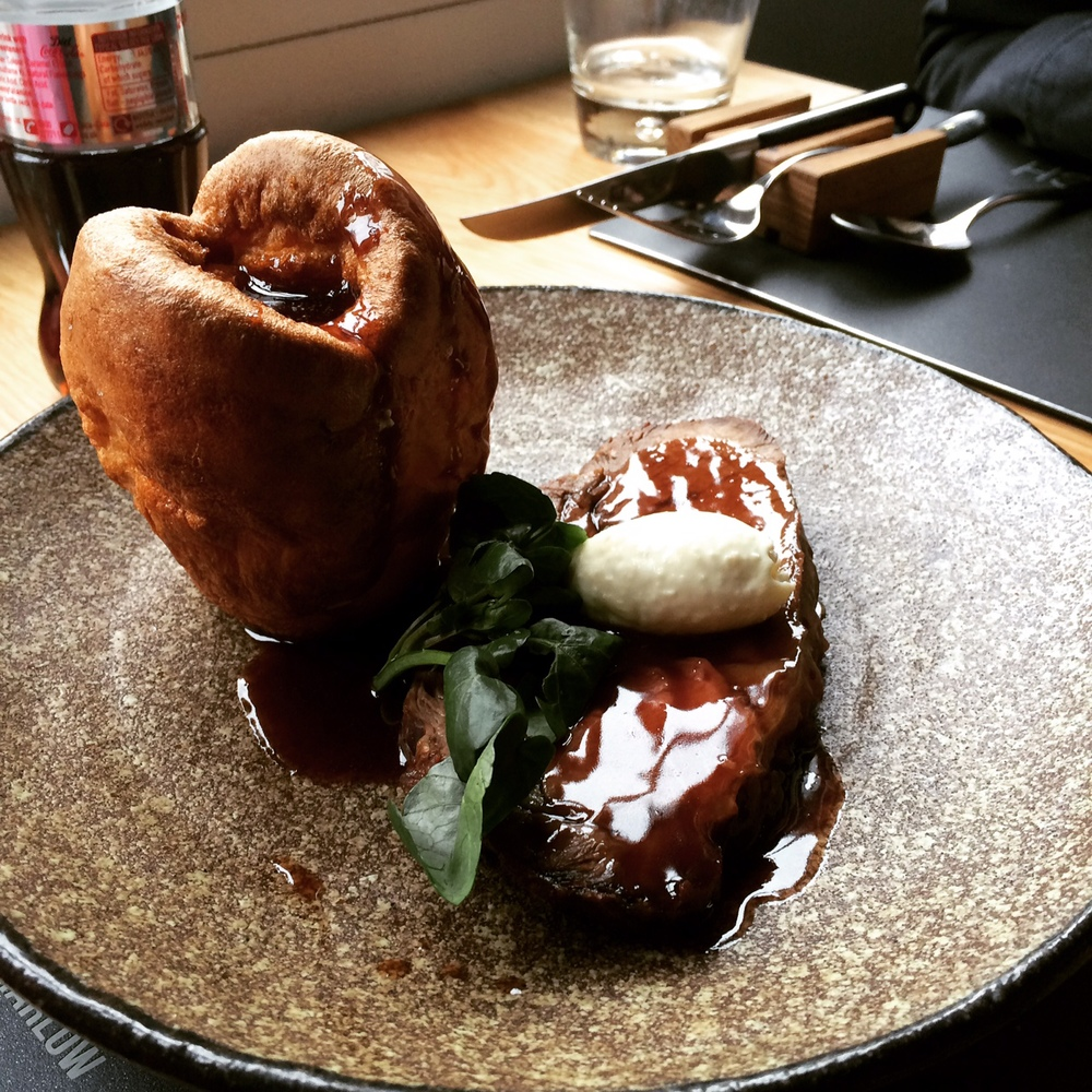 Rotisserie Beef with Yorkshire Pudding and Horseradish