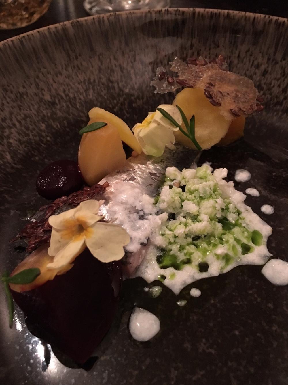 Pickled Herring, Hay-Smoked Beets, Horseradish and Dill at Bulrush