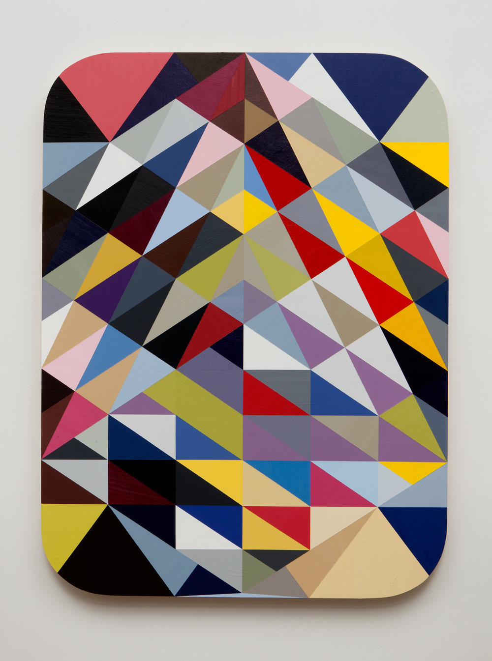 SLATE: Hard Edge Triangle Painting No. 5 (randomly generated)  , 2015 Golden acrylic on custom panel 48 x 36 inches