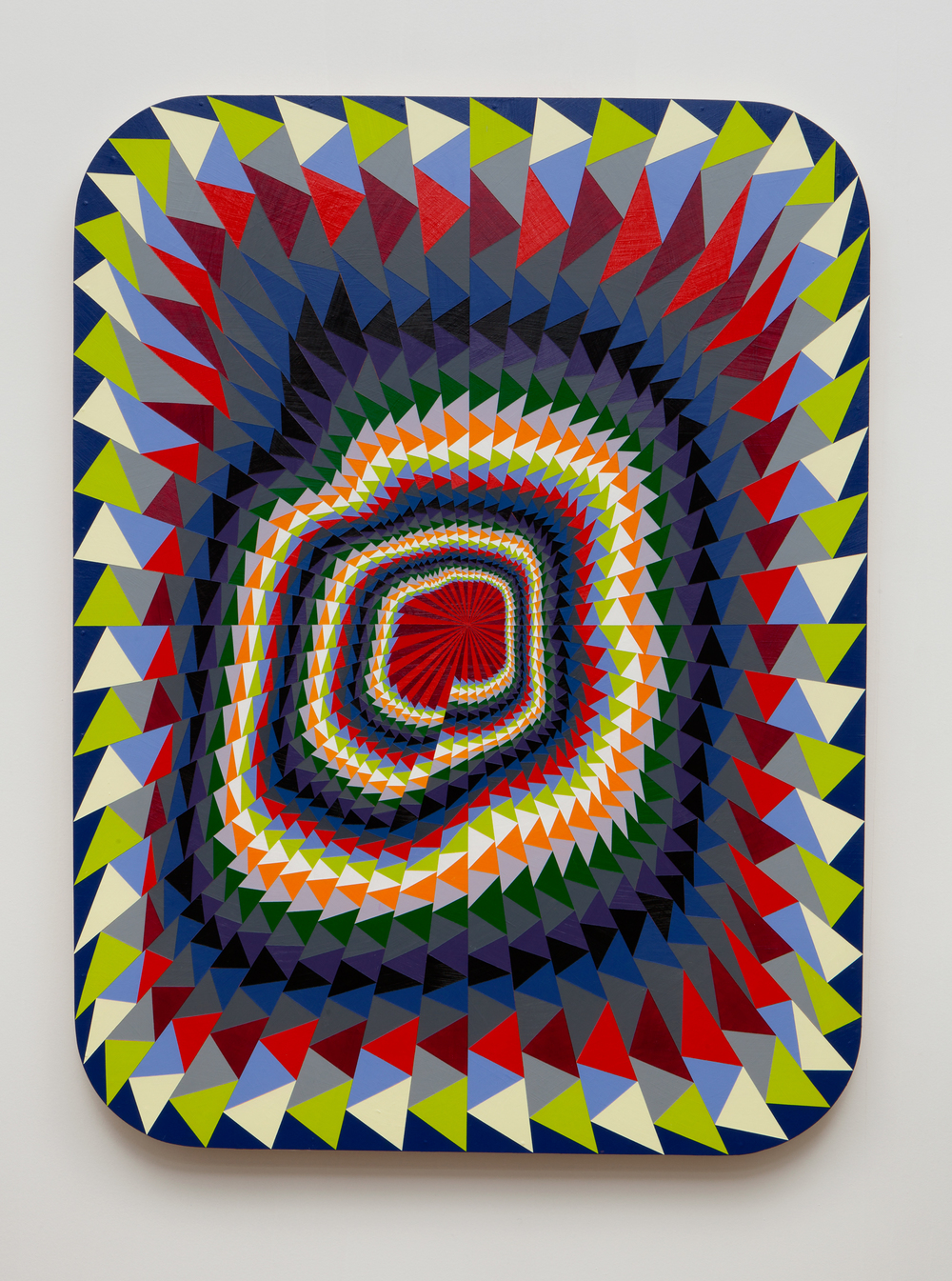 SLATE: Hard Edge Triangle Painting No. 2 (spiral)  , 2014–2015 Golden acrylic on custom panel 48 x 36 inches