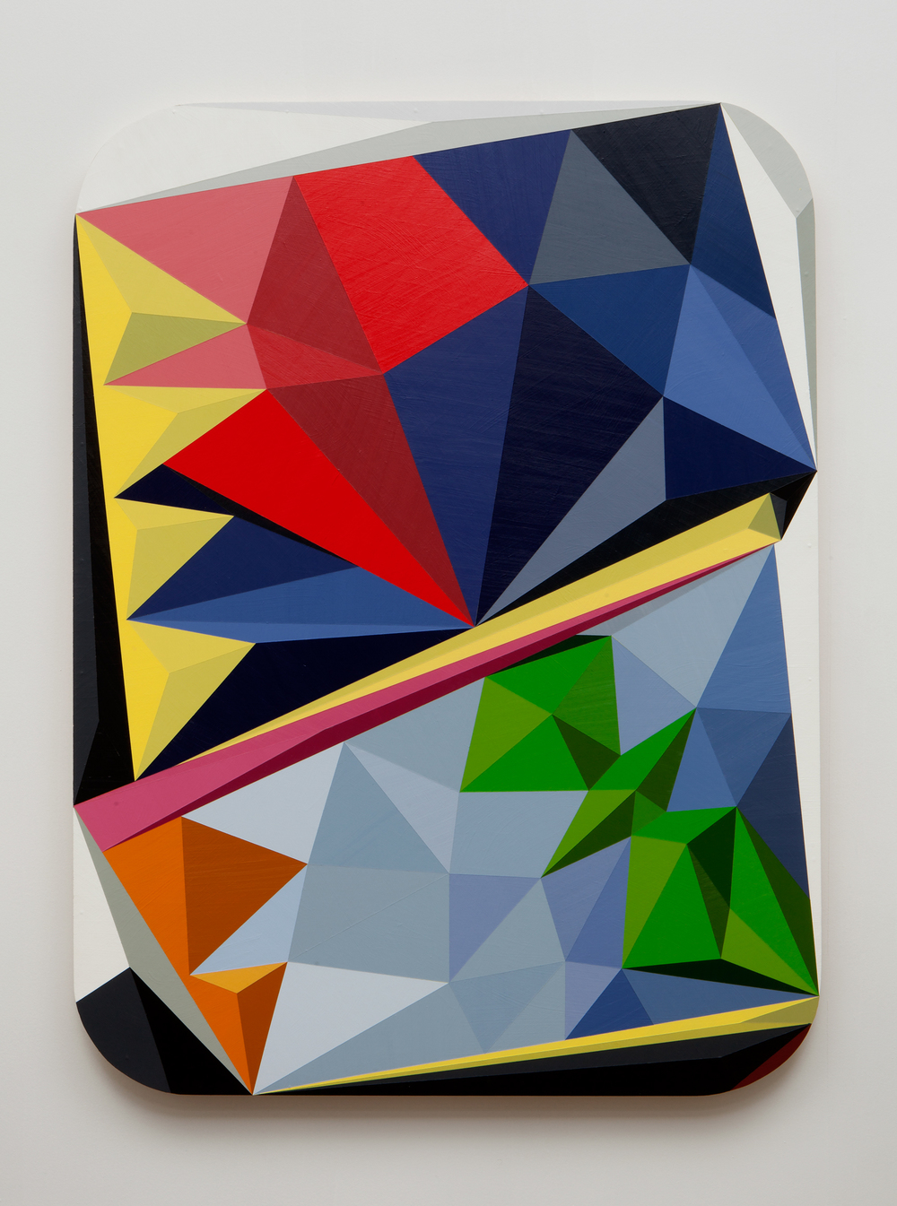 SLATE: Hard Edge Triangle Painting No. 4 (tromp l'oeil)  , 2015 Golden acrylic on custom panel 48 x 36 inches