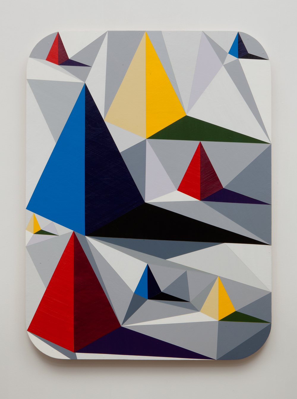 SLATE: Hard Edge Triangle Painting No. 3 (pyramids)  , 2015 Golden acrylic on custom panel 48 x 36 inches
