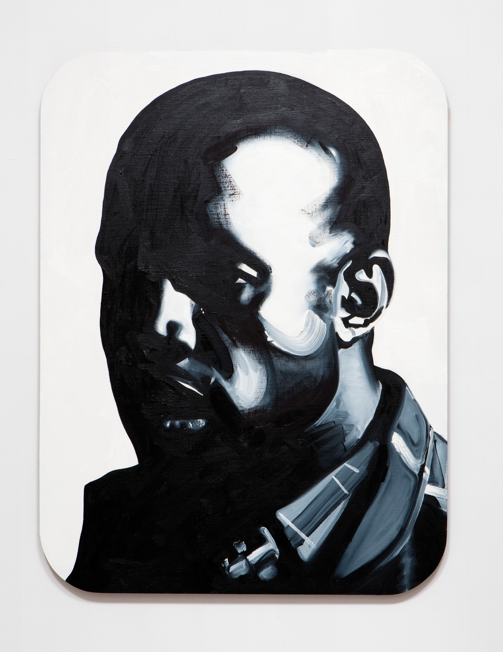 SLATE: Kanye Painting No. 1  , 2015 Oil, Golden acrylic, and sepia ink on linen stretched over custom panel 48 x 36 inches