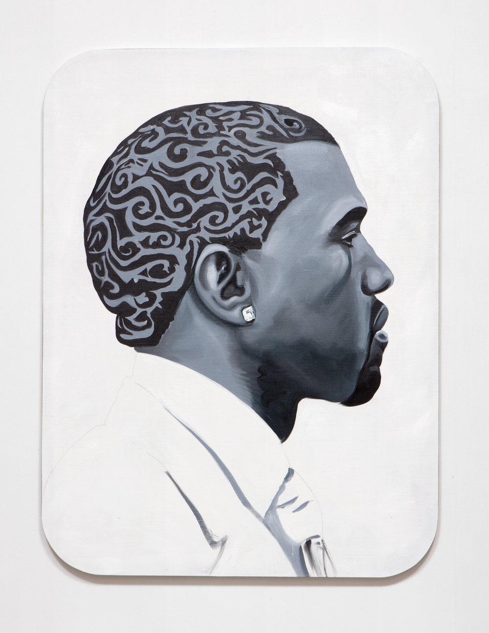 SLATE: Kanye Painting No. 5  , 2015 Oil, Golden acrylic, and sepia ink on linen stretched over custom panel 48 x 36 inches