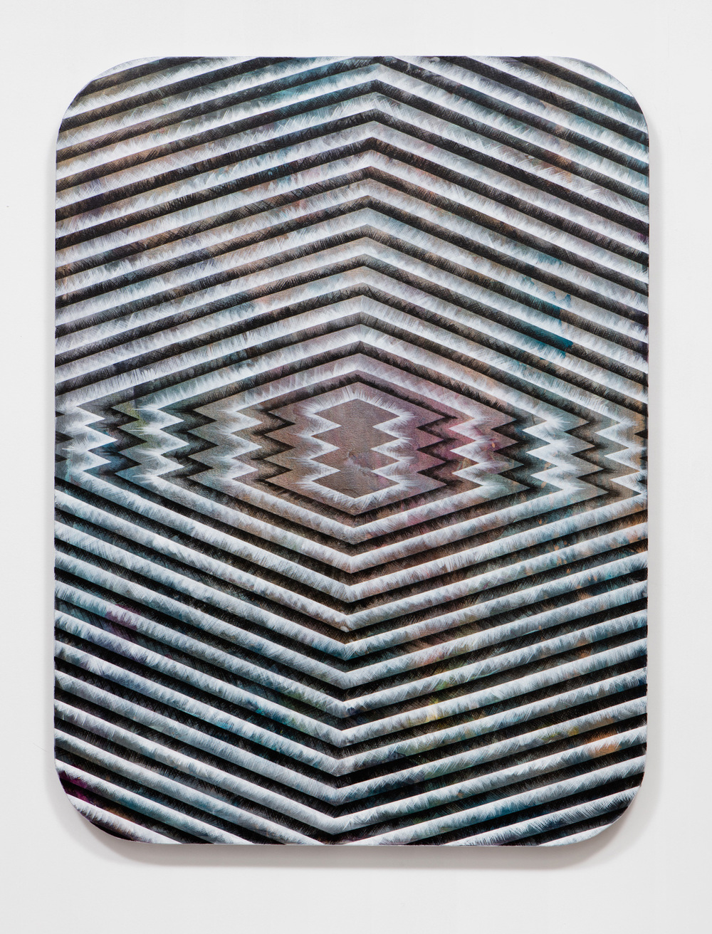 SLATE: Radial Painting No. 2 (compressed diamond stack)  , 2015 Golden acrylic on canvas stretched over custom panel 48 x 36 inches