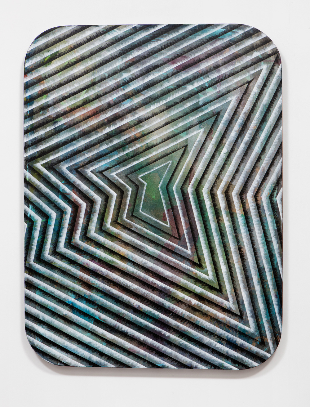 SLATE: Radial Painting No. 5 (one polygon)  , 2015 Golden acrylic on canvas stretched over custom panel 48 x 36 inches