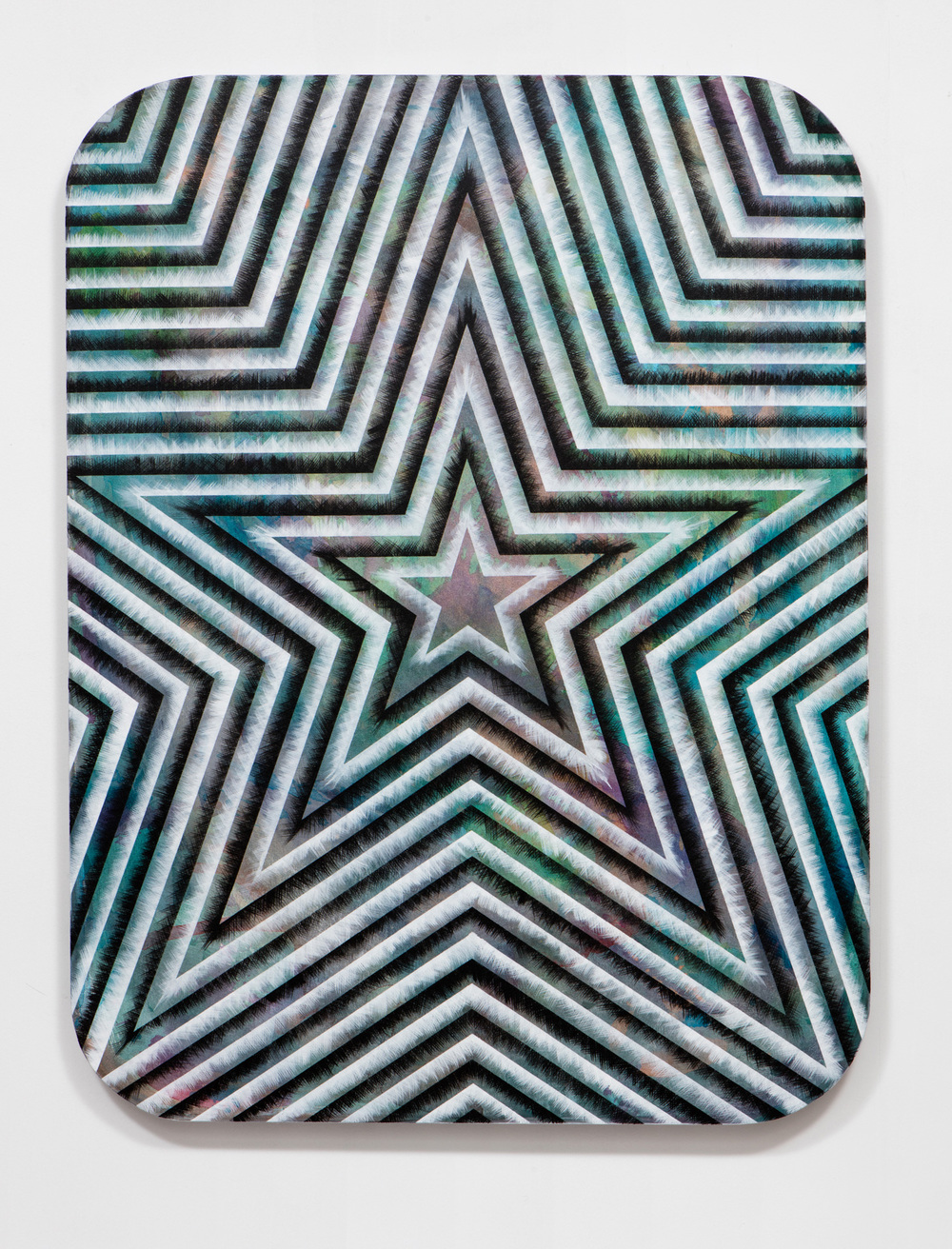 SLATE: Radial Painting No. 3 (star)  , 2015 Golden acrylic on canvas stretched over custom panel 48 x 36 inches