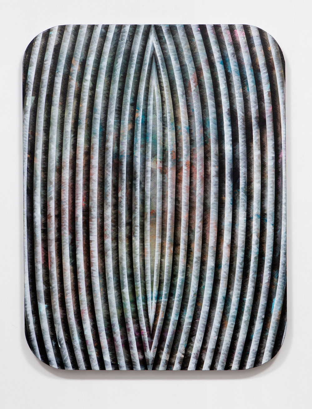 SLATE: Radial Painting No. 1 (after Fontana)  , 2015 Golden acrylic on canvas stretched over custom panel 48 x 36 inches