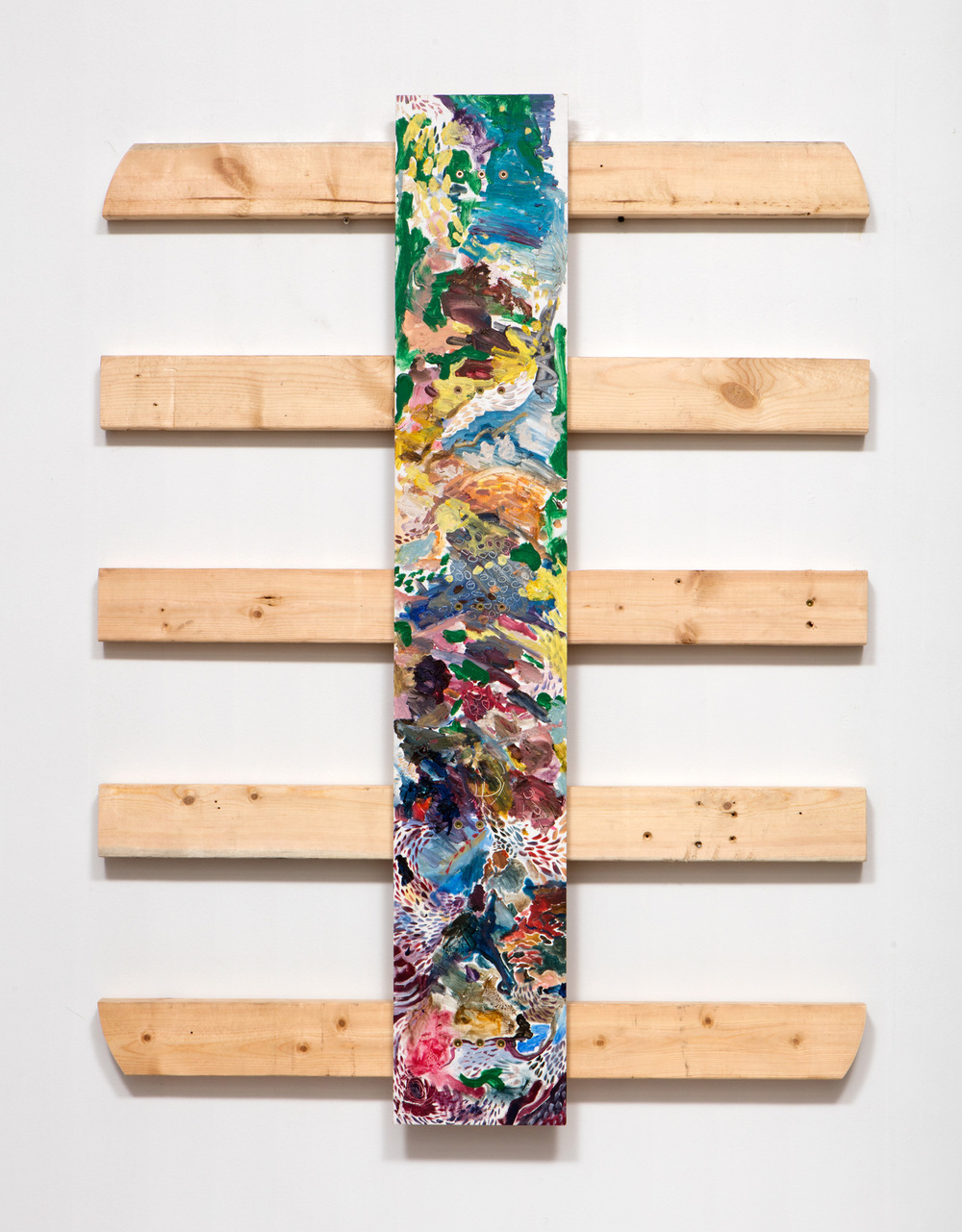 SLATE: Remnant No. 5 (painted pallet from 2008)  , 2015 Oil, acrylic, and wood 48 x 36 inches