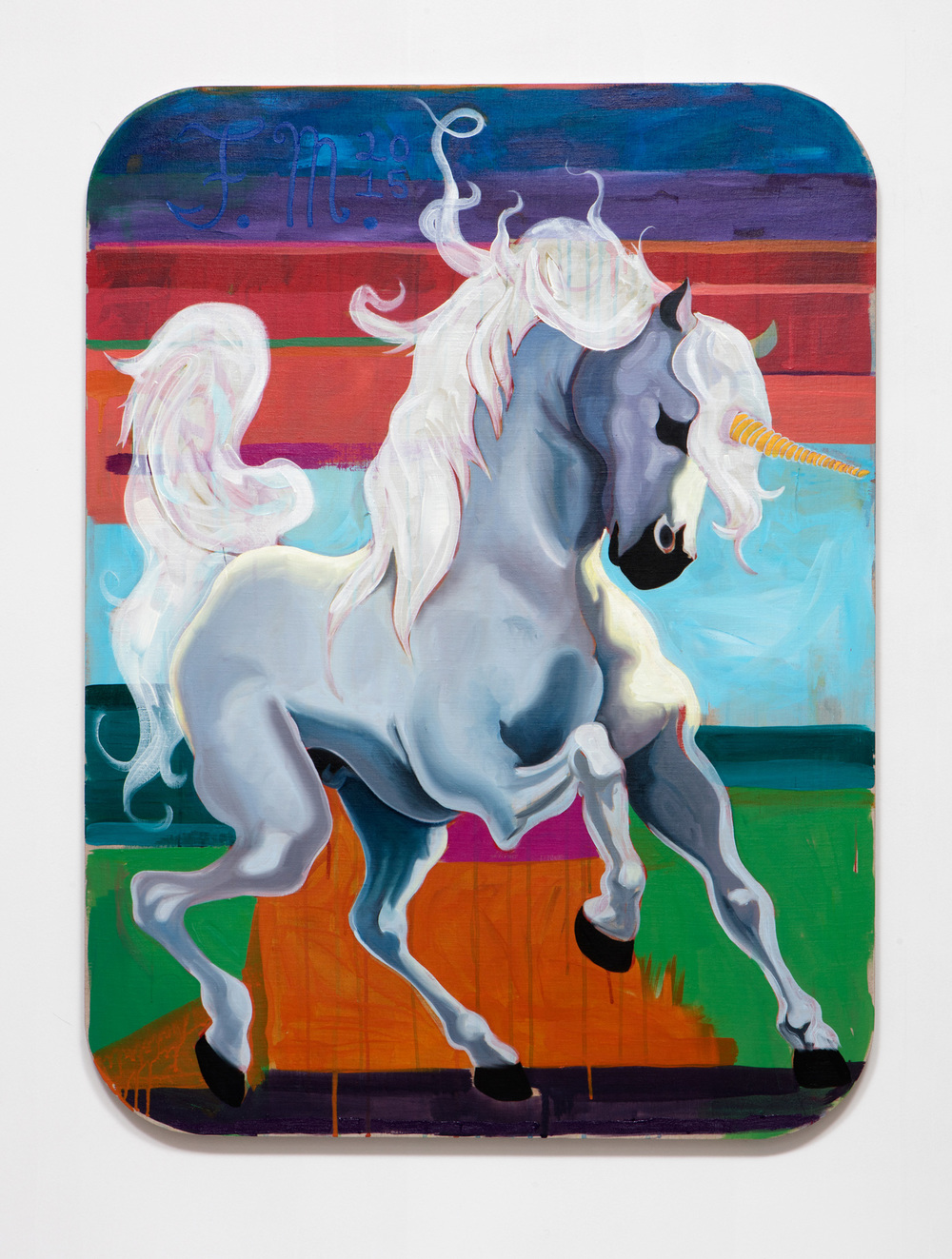 SLATE: Unicorn Painting No. 2 (Anthony Giannini – Carrot Pink Prince)  , 2015 Oil and Golden acrylic on linen stretched over custom panel 48 x 36 inches