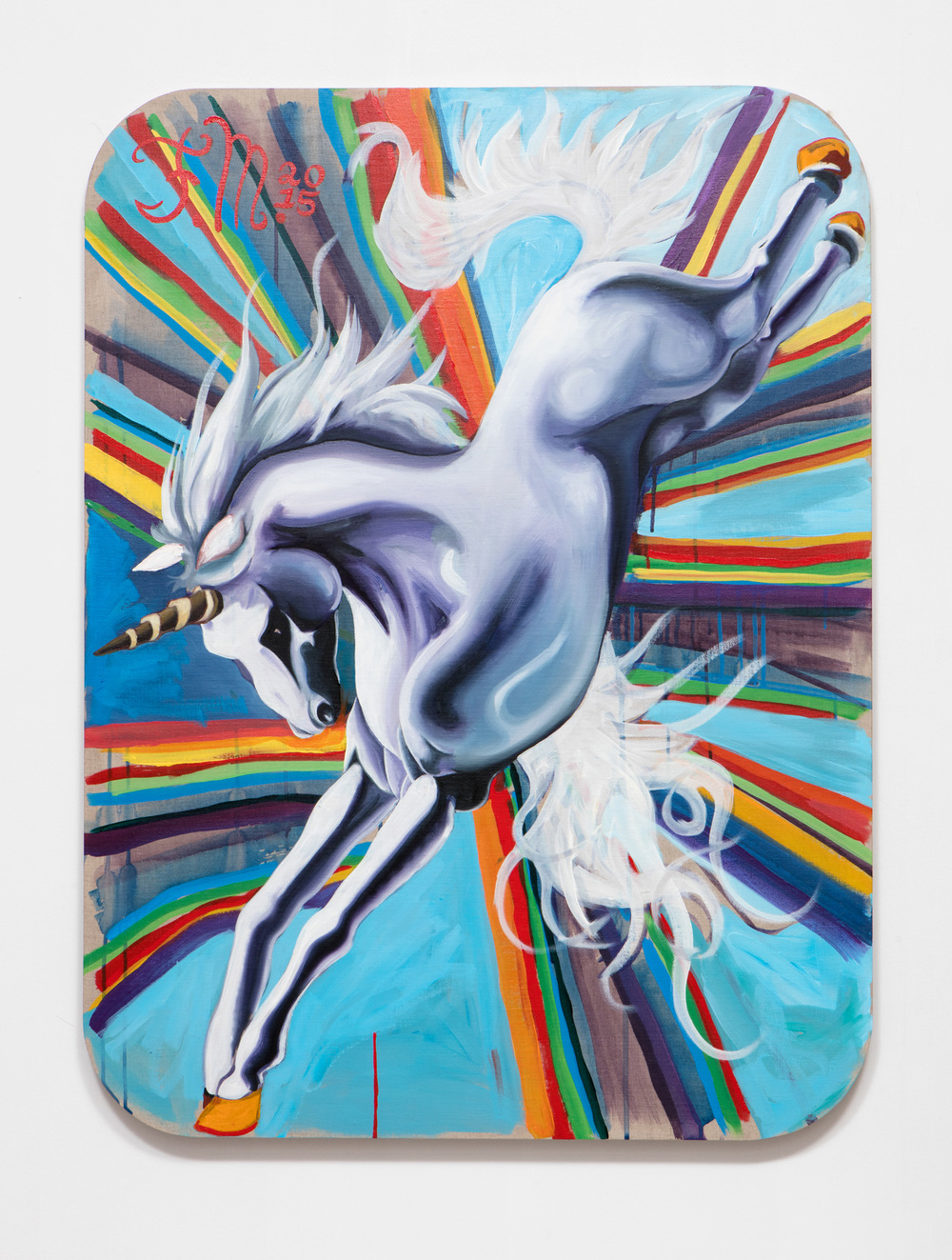 SLATE: Unicorn Painting No. 5 (Michelle Rawlings – Forget-Me-Not Dapple Lashes)  , 2015 Oil and Golden acrylic on linen stretched over custom panel 48 x 36 inches