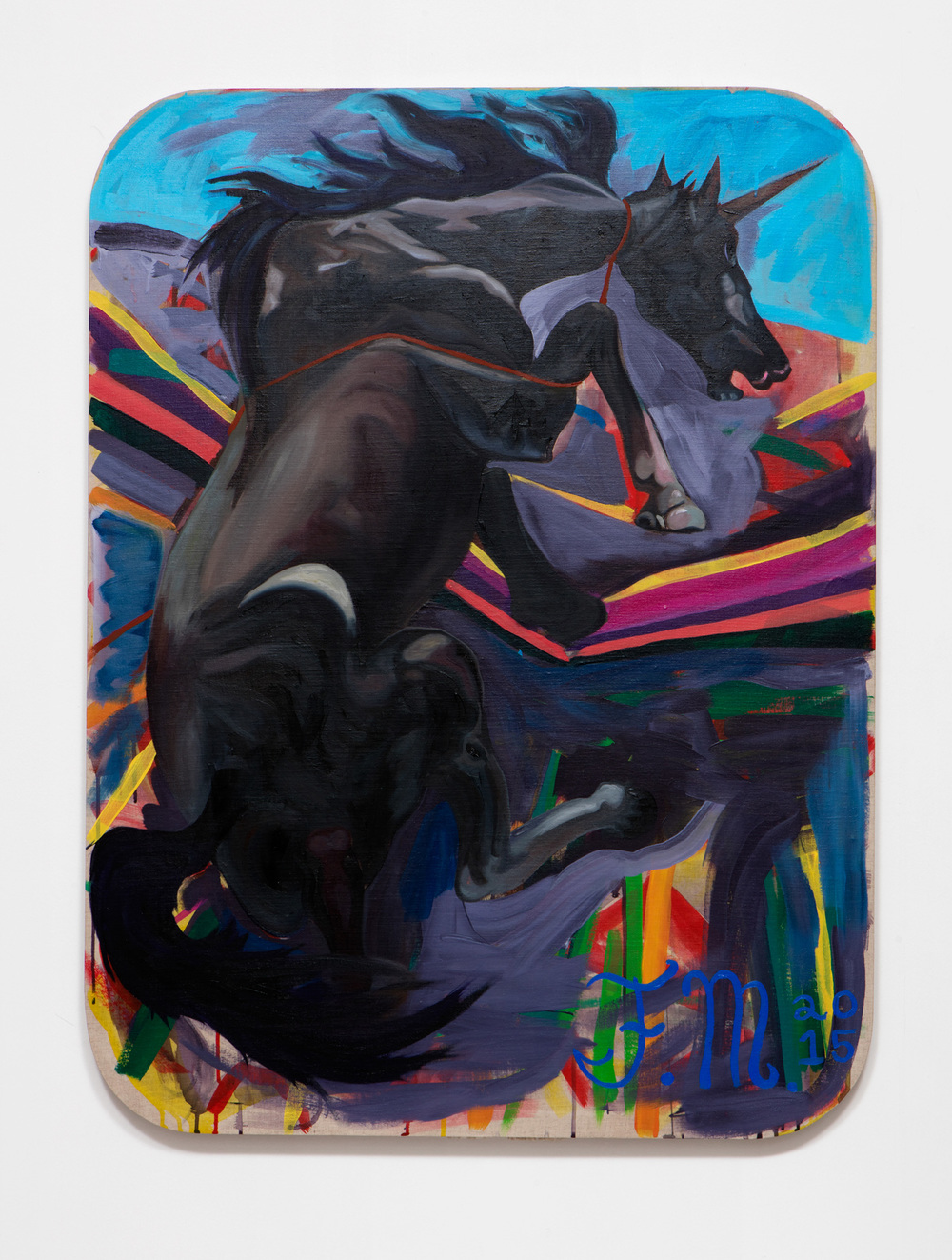 SLATE: Unicorn Painting No. 4 (Francisco Moreno – Catkin Celestial Head)  , 2015 Oil and Golden acrylic on linen stretched over custom panel 48 x 36 inches
