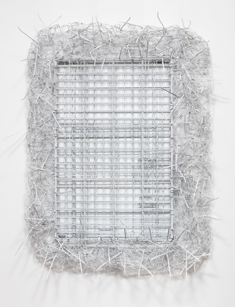 SLATE: Wire Hanger Construction No. 5 (Puck's first crate)  , 2015 Spray paint on wire hangers, zip ties, and medium size dog crate 48 x 36 inches