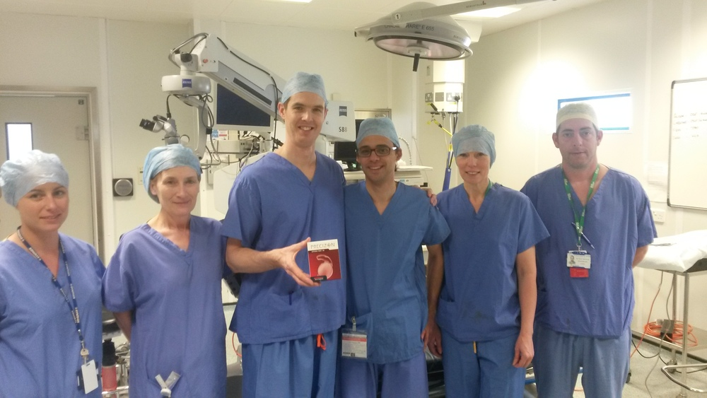Mr Damian Lake and the Surgical Team at The Queen Victoria Hospital,East Grinstead implanting the first Precizion Toric Intraocular lens in the UK,with Tiago Guerreiro from the manufacturer Ophtec.