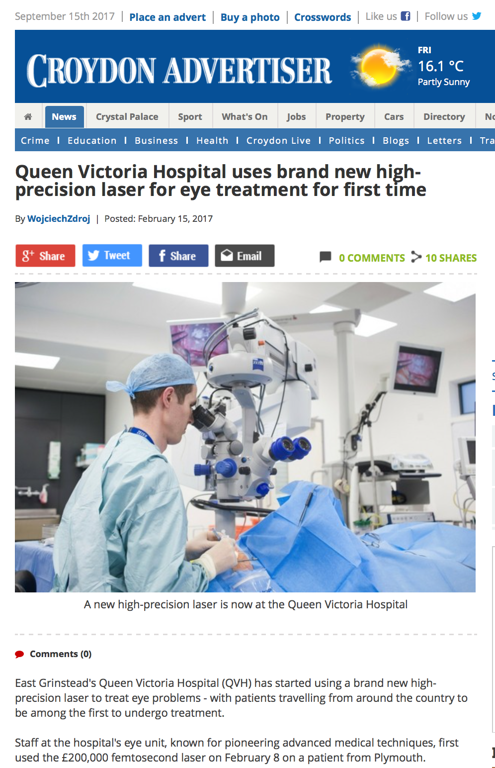 Damian Lake featured with the new Femtosecond laser at The Queen Victoria Hospital,East Grinstead,UK.