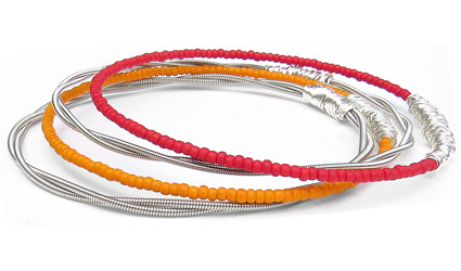 seed-bead-bracelet-set-red-orange-silver