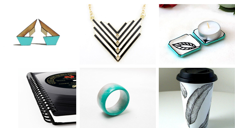 40.  Geometric stud earrings  by Hand and Machine // 41.  Chevron necklace  by Julies Jewelry Store // 42.  Turquoise candle holders  by Studio Dhouse // 43.  Vinyl record notebook  by phono boy // 44  .  Ombre bangle bracelet  by Magic Jewelry Store //   45.  Ceramic travel mug  by sewZinski