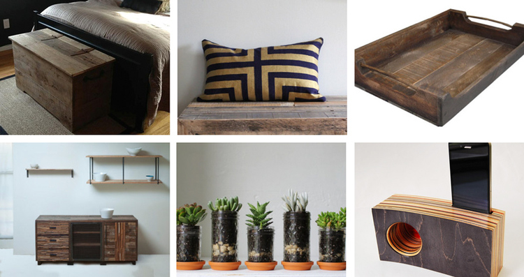 25.  Wood storage chest table  by timeless journey //   26.  Metallic pillow  by Chanee Vijay Textiles // 27.  Wood tray  by JD Wallingtons // 28.  Reclaimed wood furniture  by Blake Avenue //   29.  Mason jar planters  by Boots 'N Gus //   30.  Iphone speaker  by Genuine Woodworking