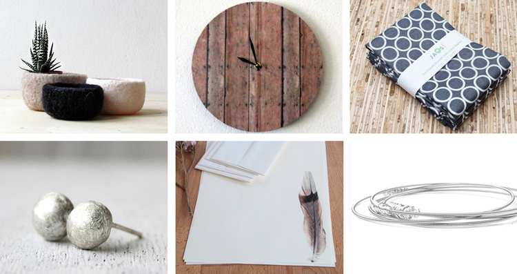 4.  Organic felt bowl  by The Yarn Kitchen // 5.  Wood print wall clock  by Shanny beebo // 6.  Large cloth napkins  by JAQ Studio  //   7.  Sterling silver stud earrings  by Elisabeth Space // 8.  Feather writing set  by My Paper Kittens  // 9.  Silver bangle bracelets  by DesignSea