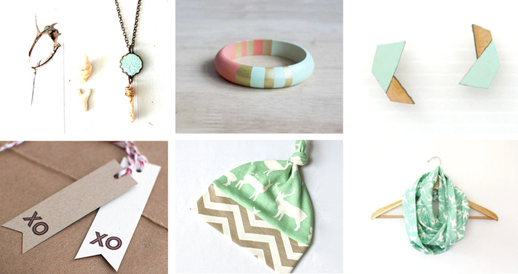 55.  Mint coin pendant necklace  by ruth reizin // 56.  Wooden bangle bracelet  by Belle Accessories // 57.  Geometric stud earrings  by Hand and Machine //   58.  Eco-friendly gift tag    by unknown //   59.  Organic baby hat  by bizzy and boo //   60.  Infinity loop scarf  by Cloth and INK
