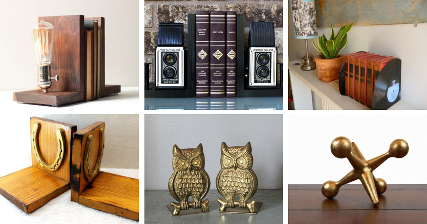 26.  Lightbulb bookends  by  Worley's Lighting  //27.  Camera bookends  by  Light And Time Art  //28.  Record bookends  by  WhenTheMusicsOver  // 29  .  Bookends  by  Hobart Collectables  // 30.  Owl bookends  by  Scottie In A Canoe  // 31.  Jax bookend  by  Urban Trading Post