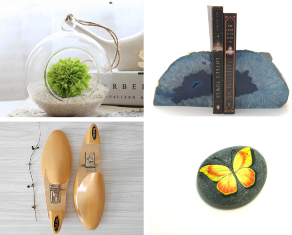 22.  Hanging terrarium  by  MyLittlePlants   // 23.   Blue Agate gemstone bookends  by  Lemesto  // 24.  Vintage wood shoes  from  simplychi   // 25.  Painted butterfly stone  by  Fantasiedipietra