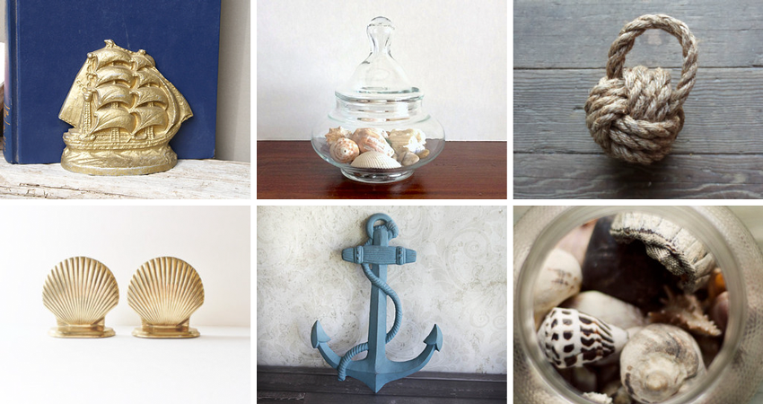 16.  Vintage ship bookends  from  BeachLaneVintage  //17.  Vintage jar  by  StateStreetVintage  //18.  Rope doorstop  by  AlaskaRugCompany  // 19  .  Shell bookends  from  bluebutterflyvintage  // 20.  Cast iron anchor  by  ShabbyChicCharm  // 21.  Photograph  by  dullbluelight