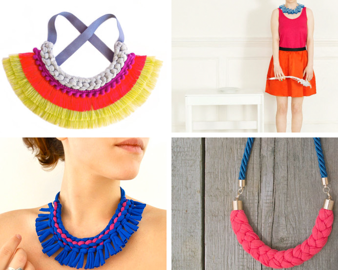 Fringe statement necklace by SusanaEspiauba// Felt boho bib necklace by FELTandGEM// Tribal statement necklaceby Pamplepluie// Color block statement necklace by Zojanka