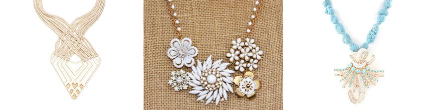 Cotton & brass statement necklace  by  LizaJewelryArtist //  Vintage jewelry statement necklace  by  hangingbyathread1 //  Vintage broach statement necklace by  CorriMcFadden