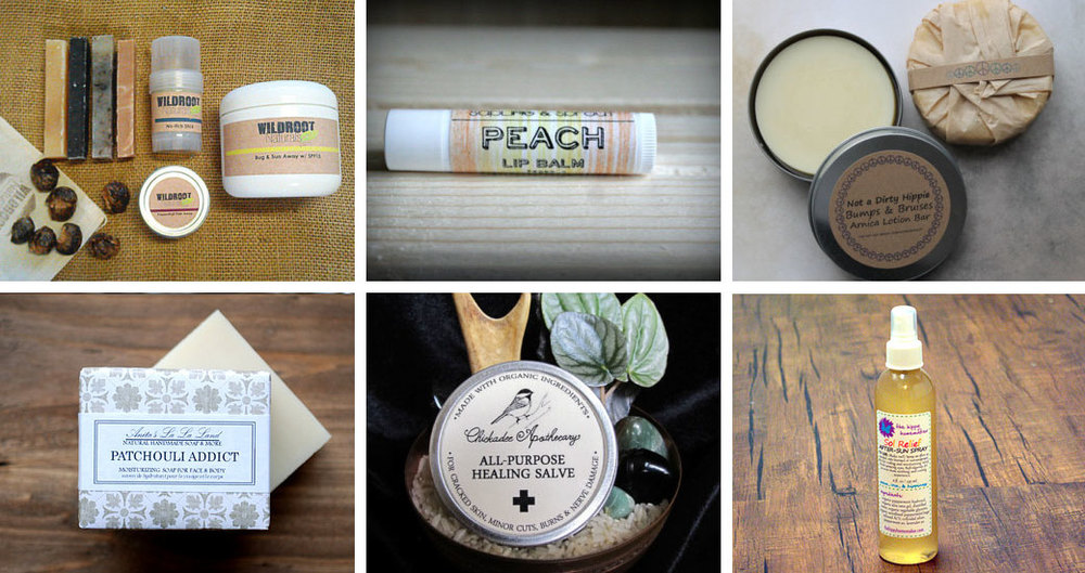 Camping emergency kit by WildrootNaturals // Peach lip balm by SaplingandSprout // Bumps & bruises lotion bar by NotaDirtyHippie // Patchouli addict natural soap by AnitasLaLaLand // All-purpose healing salve by ChickadeeApothecary // After sun spray by TheHippyHomemaker