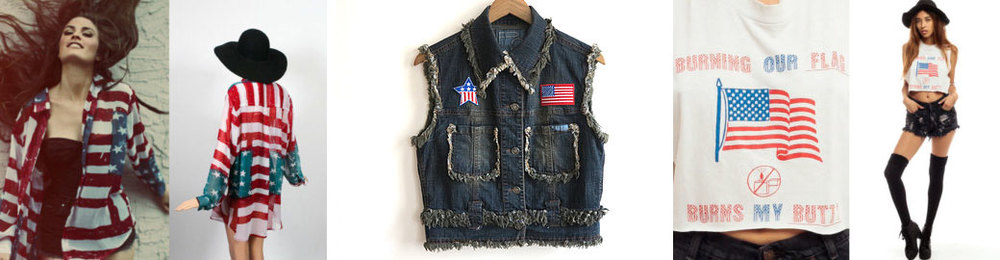Vintage American Flag shirt from ontheprowl // Vintage denim vest from ArtasStore // Patriotic vintage tshirt from ShopExile