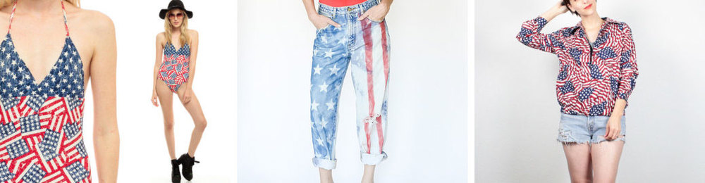 American flag bathing suit  from   ShopExile  / /  American flag boyfriend jeans  from   awildatheart  / /  American flag jacket  from   ShopTwitchVintage