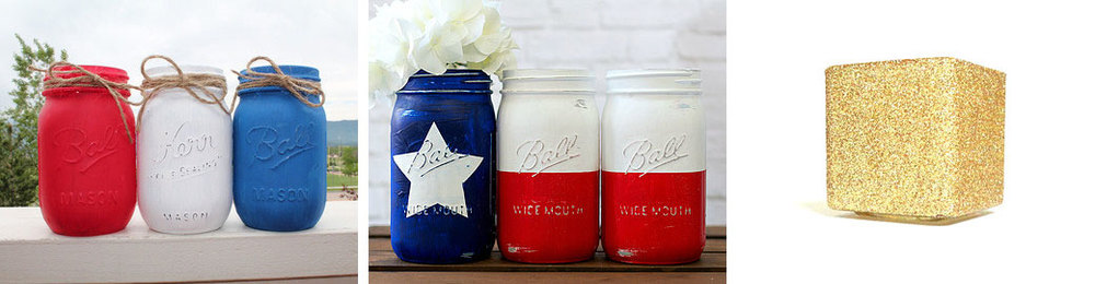 Red, white & blue Ball jars  by  MonogramsAndMasons  //  4th of July jars  by  dropclothdesignco  //  Glitter candle  by  janetwhatmandesigns