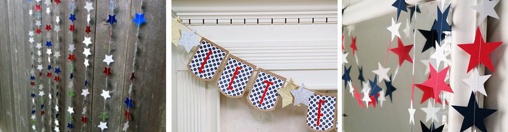 4th of July garland  by  MrsMorrisMade  //  July 4th banner  by  WhenItRainsShop  //  Red, white and blue star garland  by  EnchantedPendulosity
