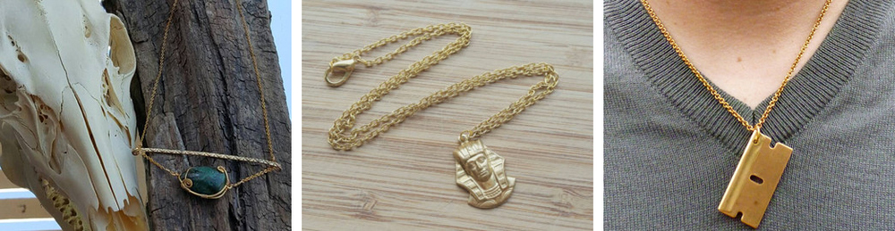 Boho statement necklace  by  katvwright // Raw brass Egyptian pendant necklace by  CogsandCuriositiesUK // Razor blade pendant necklace by  FawnAndFervor