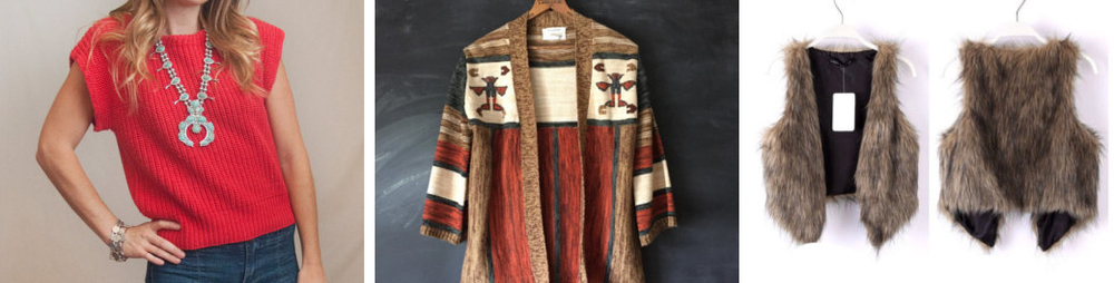 Vintage sweater from ClassicRockCouture // Vintage Aztec cardigan from LoCaVintage22 // Faux fur vest by Sophiaschicboutique