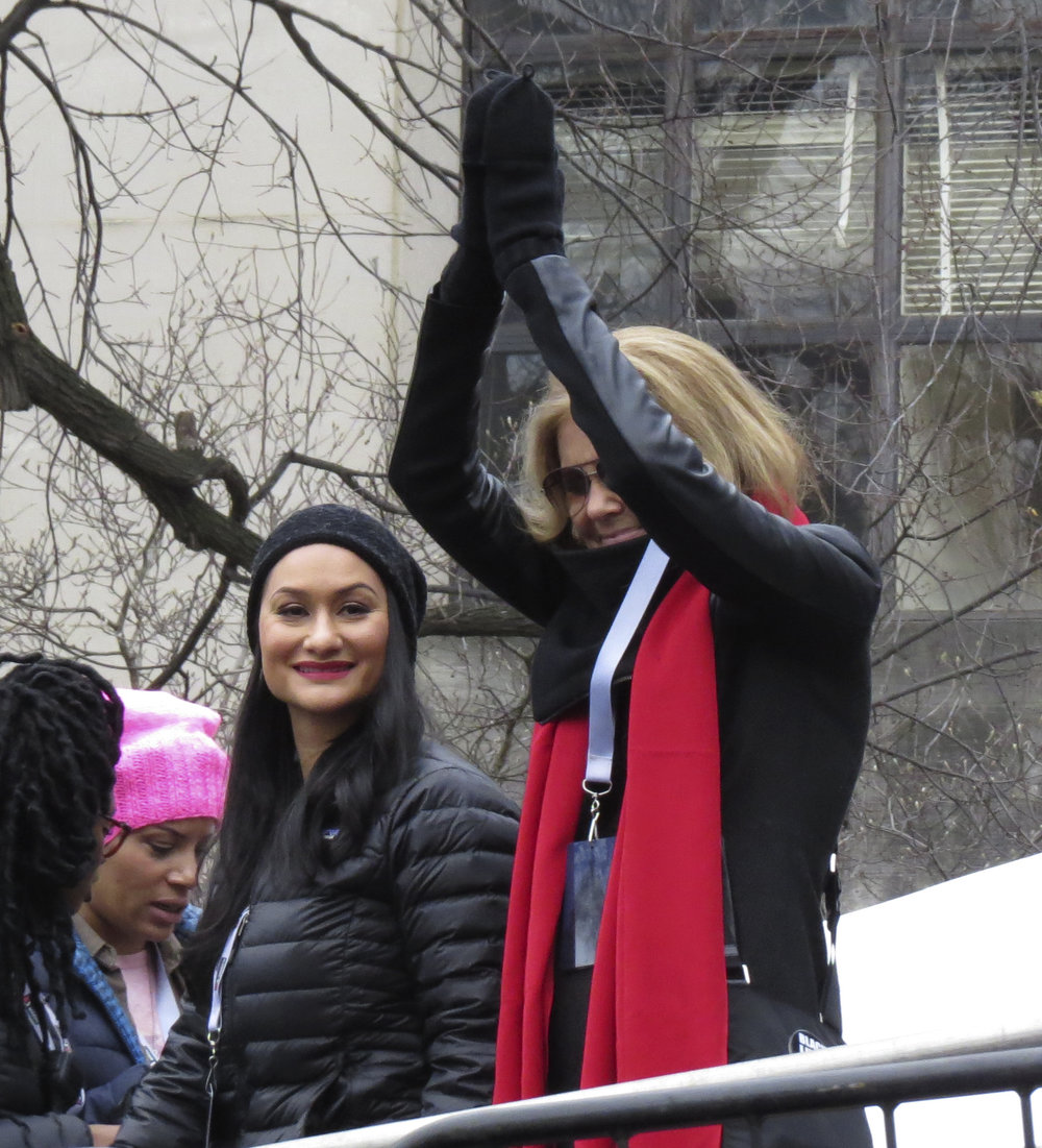 Gloria Steinem and Carmen Perez at Women's March on Washington