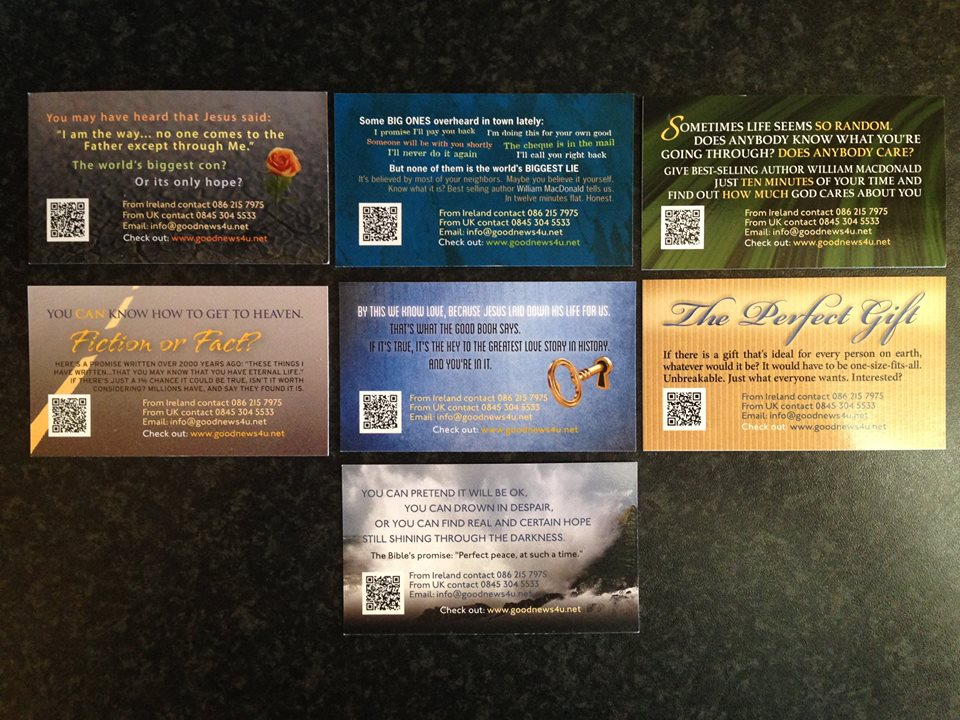 Reverse side of cards showing contact information and QR which takes people directly to a short gospel message linked to the theme of the card.