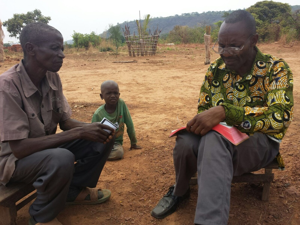 "Kikunda was a witchdoctor but shortly after this picture was taken he repented and trusted Christ. He has been attending the Bible teaching service each morning at 5:30am and showing a real interest. The latest update from Moise translates as ""Kikunda is breathing peace and joy and growing closer to God."" Please pray for him."
