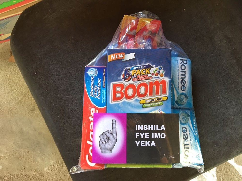 Packs for refugees with tracts and hygiene materials