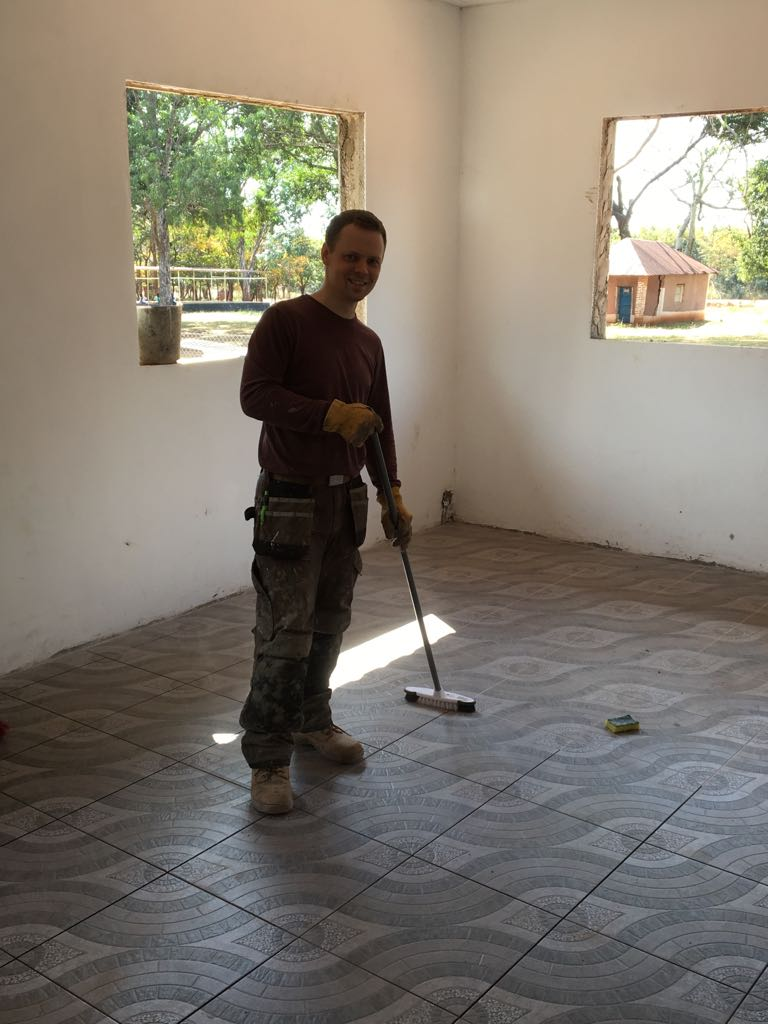 Tom Merriman who kindly came out and tiled the staff room floor, head teacher's office, toilet and showers as well as the plumbing.